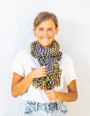 Amelia scarf in Mustard print