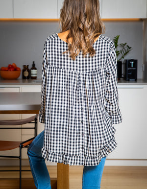 Vayner gingham top in Black & Cream