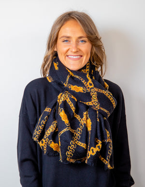 Vatican knit scarf in Black print