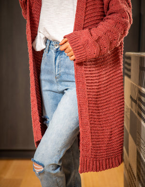 Sunset Dream knit cardigan in Brick