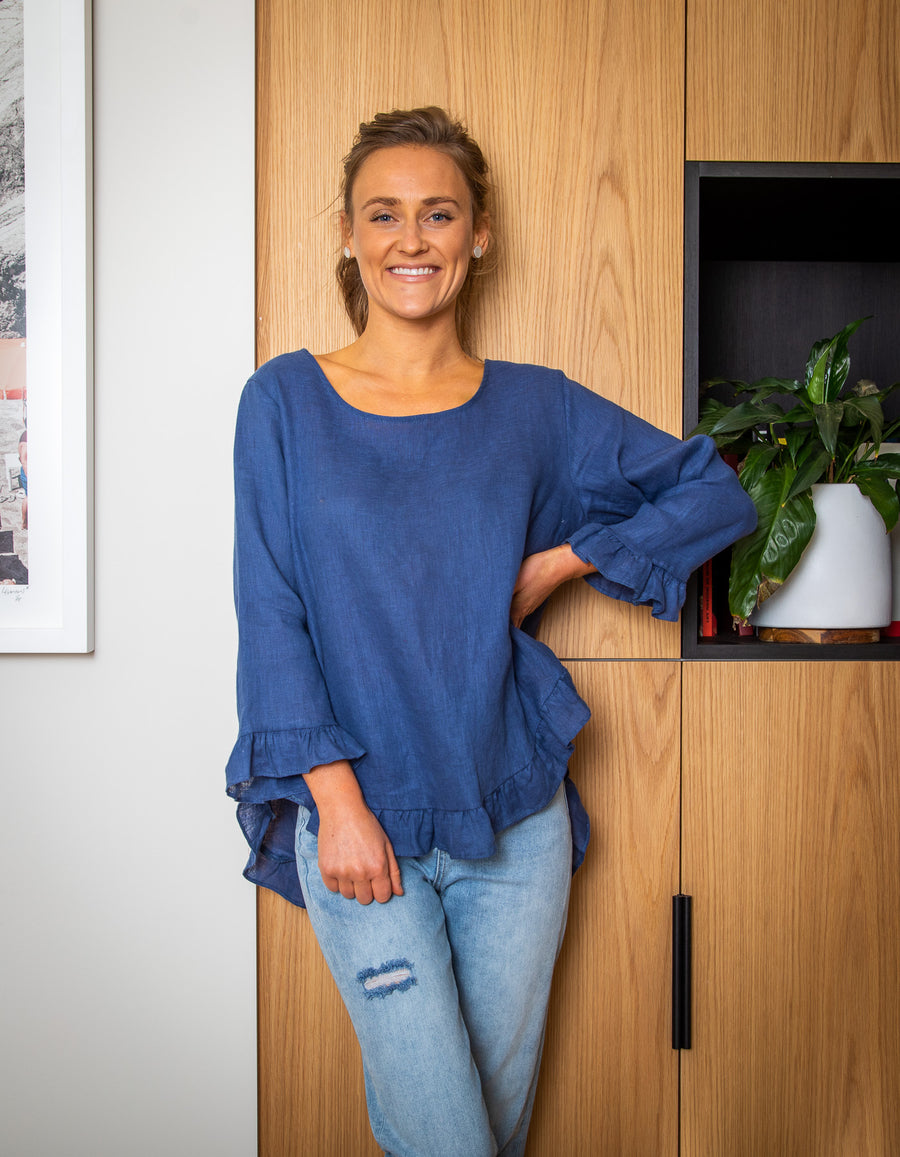 Beatrice linen top in Blue