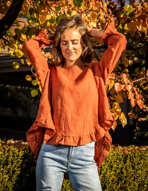 Beatrice linen top in Rust