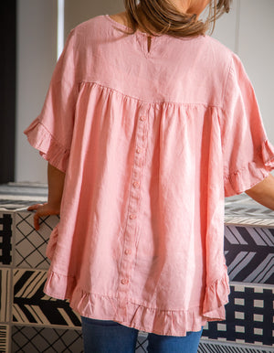Show Off top in Blush linen