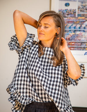 Louella gingham top in Black/White linen
