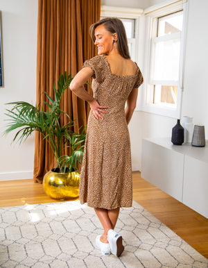 On Your Mind leopard dress in Tan