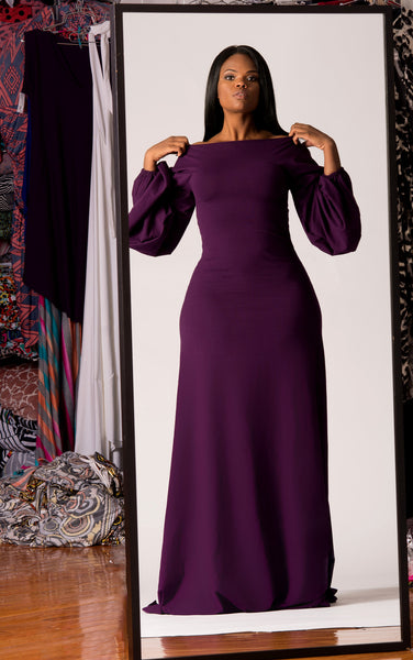long puff sleeved dress