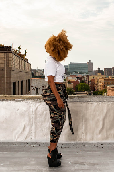 camo pencil skirt with tie