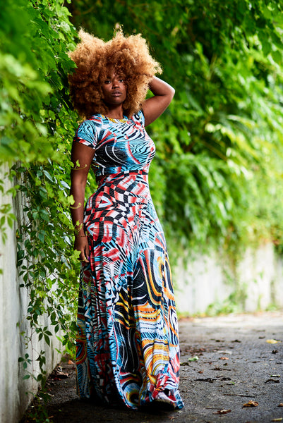 cosmos print split-level dress