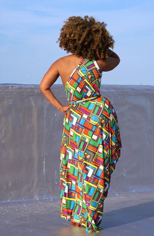 graphic print one-shoulder drape