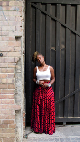 red polka dot circle skirt w/tie