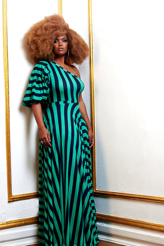 green and navy stripe one-shoulder puff