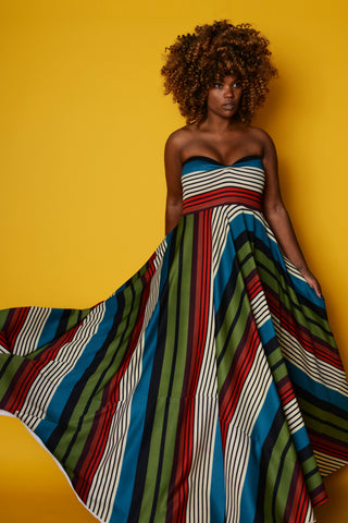 stripy strapless - red/blue/green