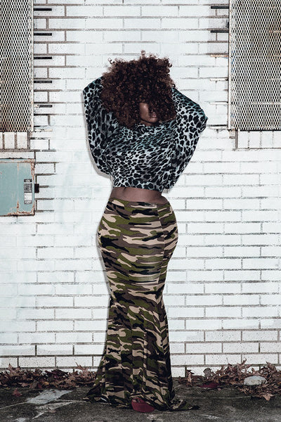 datass camo fishtail skirt