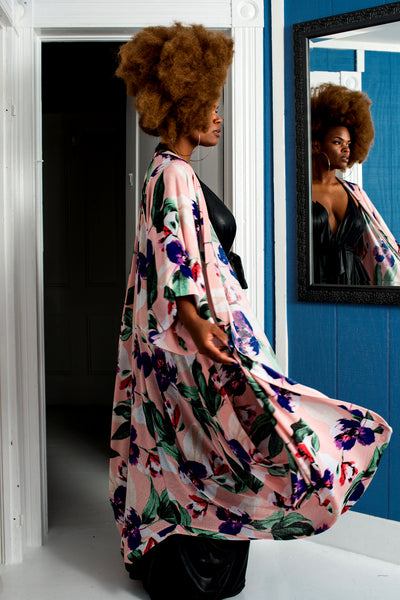my fave drape sweater in floral print - kimono sleeve