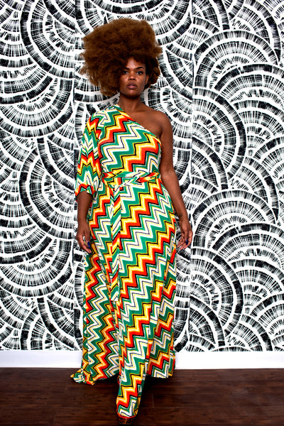 bright af print one-shoulder grecian