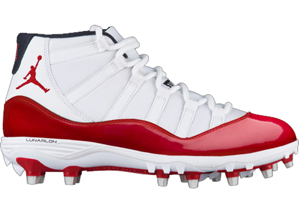 Air Jordan Retro 11 White Red Cleat
