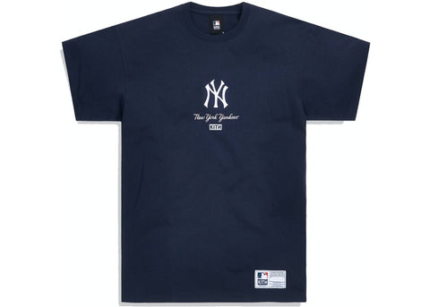 Kith For Major League Baseball New York Yankees Icon Script Box Tee Navy