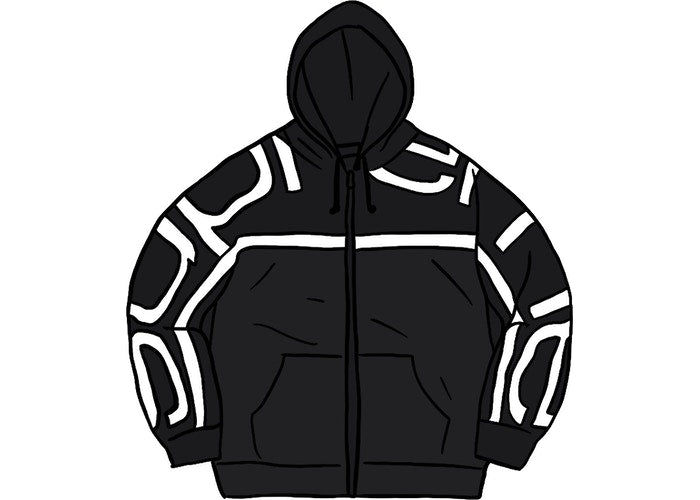 Supreme Big Logo Paneled Zip Up Black