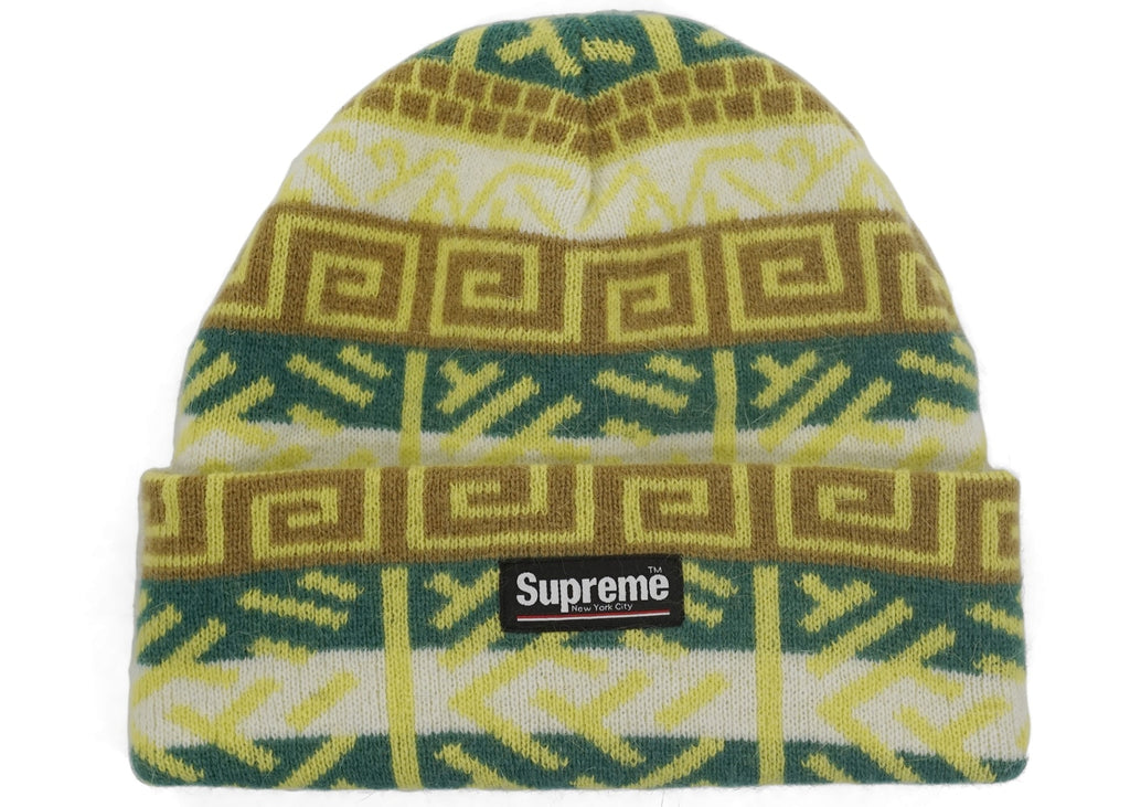 Supreme Brushed Pattern Beanie Green