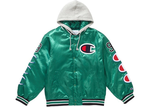 Supreme Champion Hooded Satin Varsity Jacket Kelly Green
