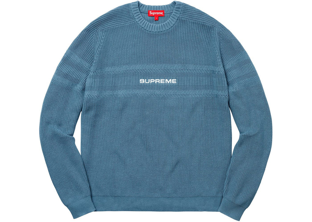 Supreme Chest Stripe Raglan Sweater Dusty Blue
