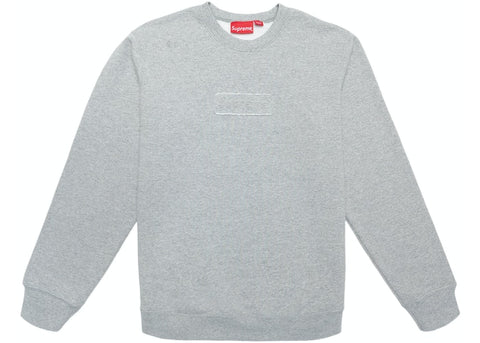 Supreme Cutout Logo Crewneck Heather Grey