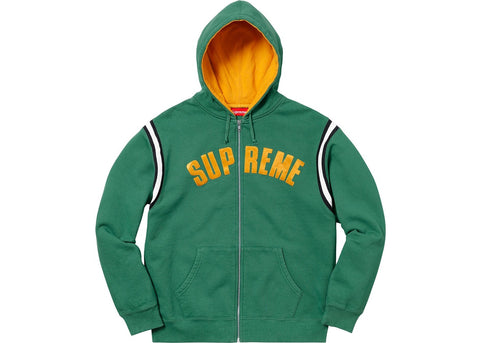 Supreme Jet Sleeve Zip Up Hooded Sweatshirt Light Pine