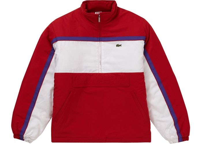 Supreme LACOSTE Puffy Half Zip Pullover Red
