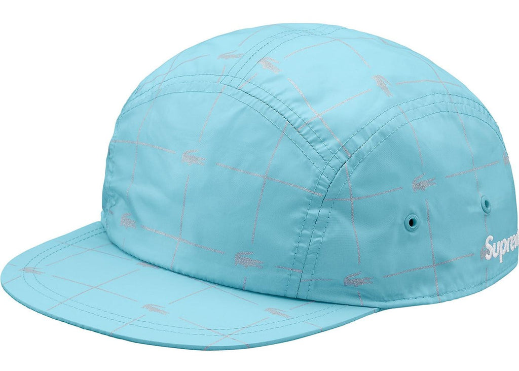 Supreme LACOSTE Reflective Grid Nylon Camp Cap Blue