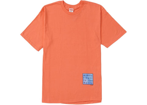Supreme Middle Finger to the World Tee Neon Orange