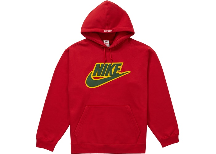 Supreme Nike Leather Applique Hooded Sweatshirt Red