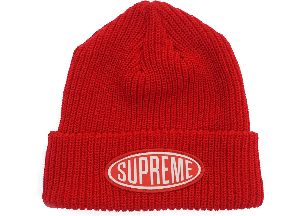 Supreme Oval Patch Beanie Red
