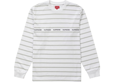 Supreme Printed Stripe Pique L/S Top White