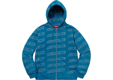 Supreme Repeat Zip Up Hooded Sweatshirt Dark Aqua