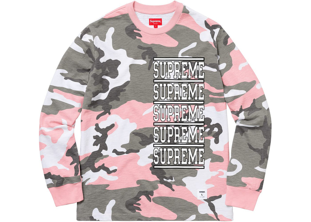 Supreme Stacked L/S Top Pink Camo