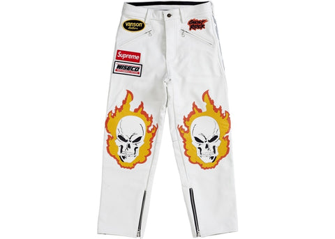Supreme Vanson Leathers Ghost Rider Pant White