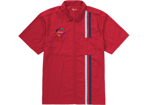 Supreme Zip Up S/S Work Shirt Red