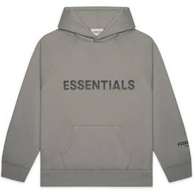 FEAR OF GOD ESSENTIALS Pullover Hoodie Applique Logo Cement