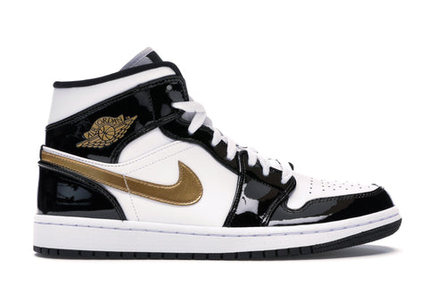 Air Jordan 1 Mid Patent Black White Gold