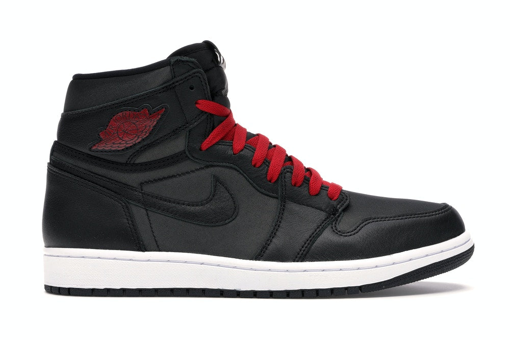 Jordan 1 Retro High Black Satin Gym Red