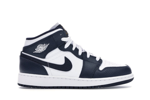 Jordan 1 Mid White Metallic Gold Obsidian (GS)