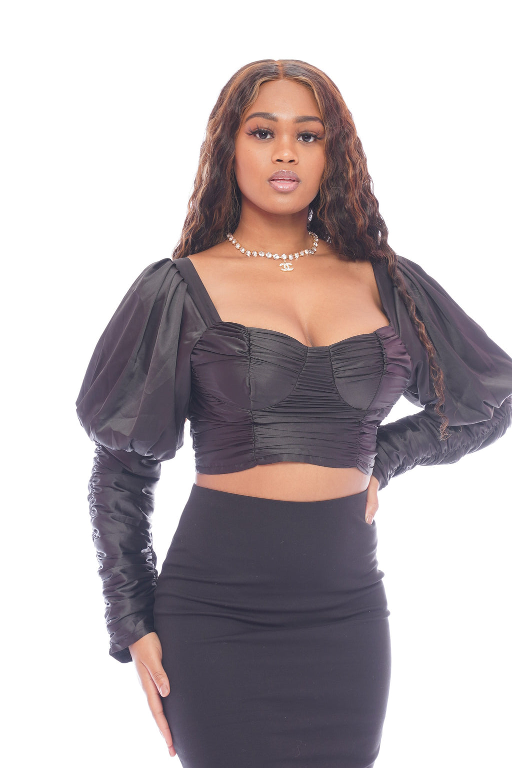 Black Silky Scrunch Crop Top
