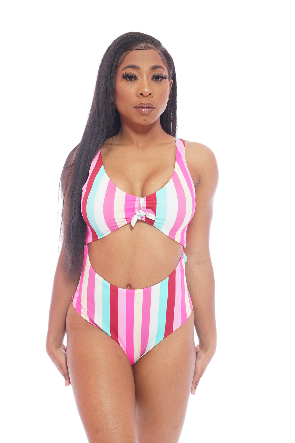 Pastel Stripe Stomach Out SwimSuit
