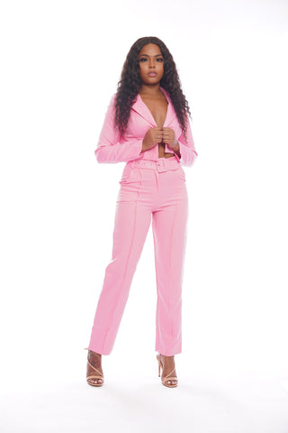 Light Pink Floral Pants Set