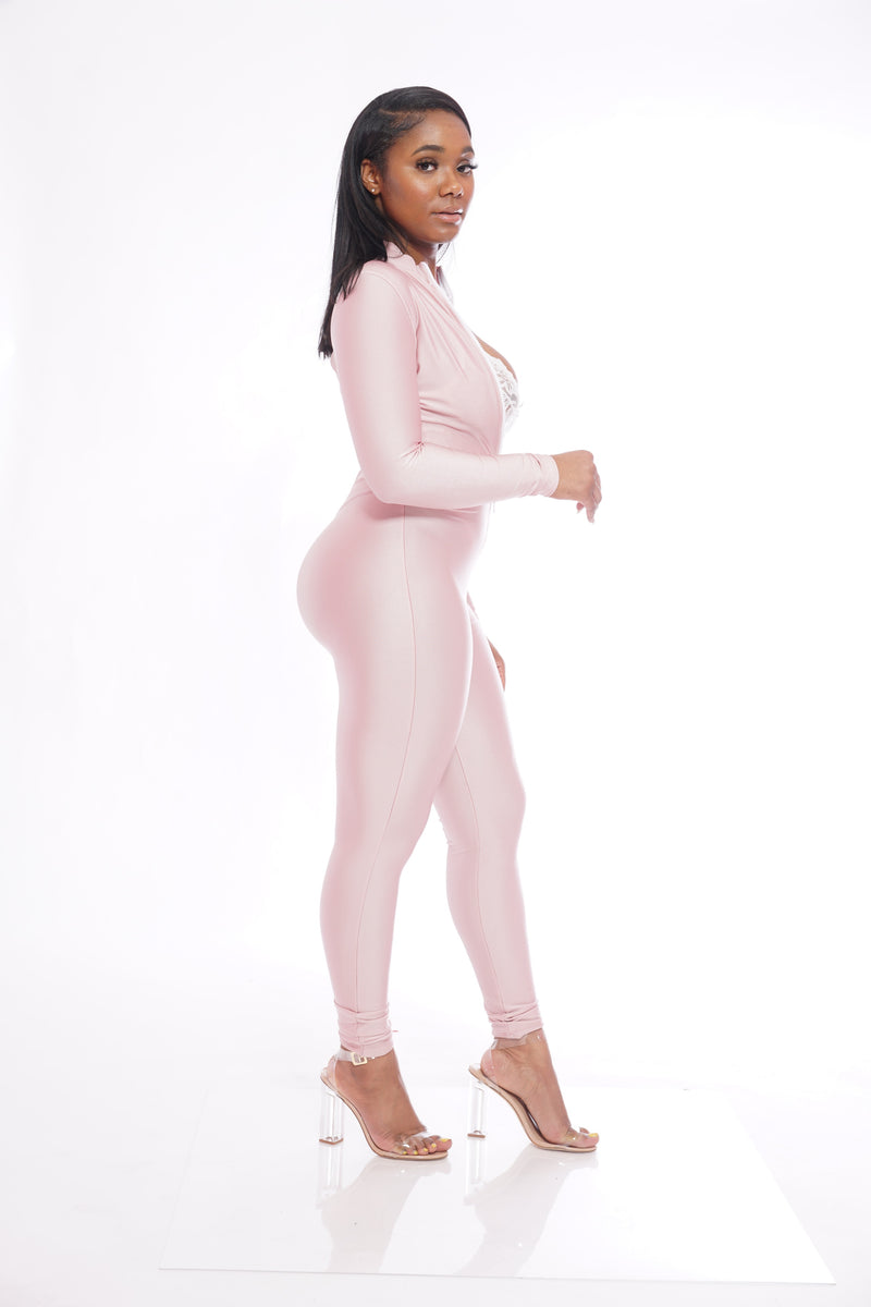 Light Pink White Zipper Jumpsuit