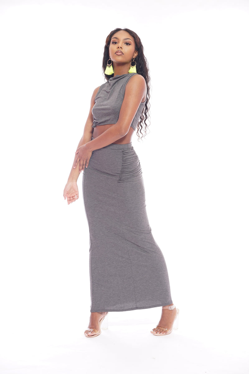 Grey Knot Scrunch Skirt Set