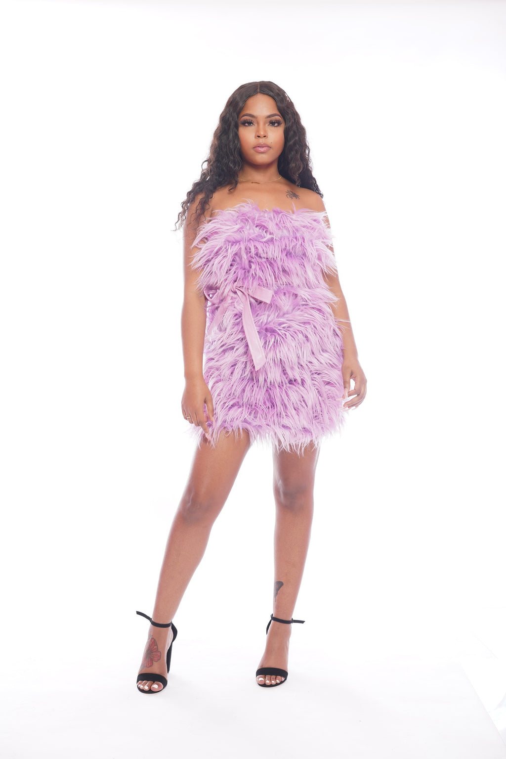 Purple Faux Fur Dress