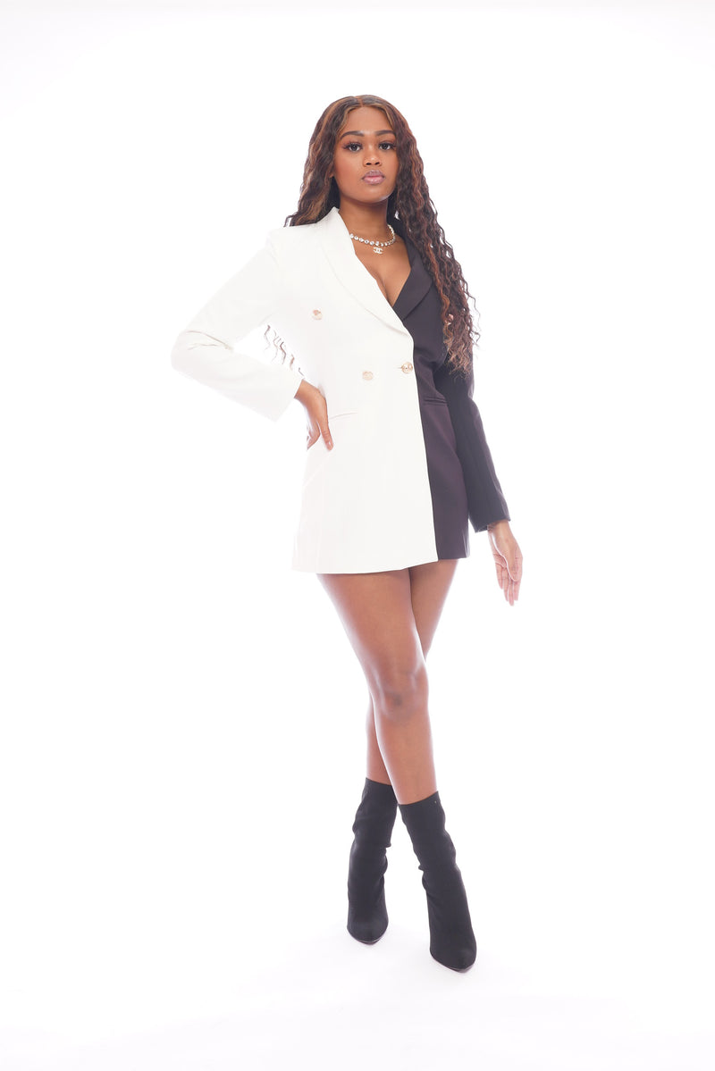 Black White Blazer Dress