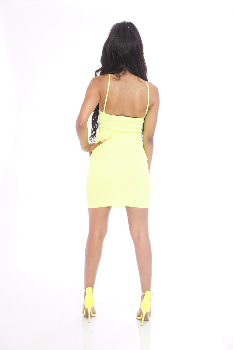 Basic Neon Green Ribbed Dress