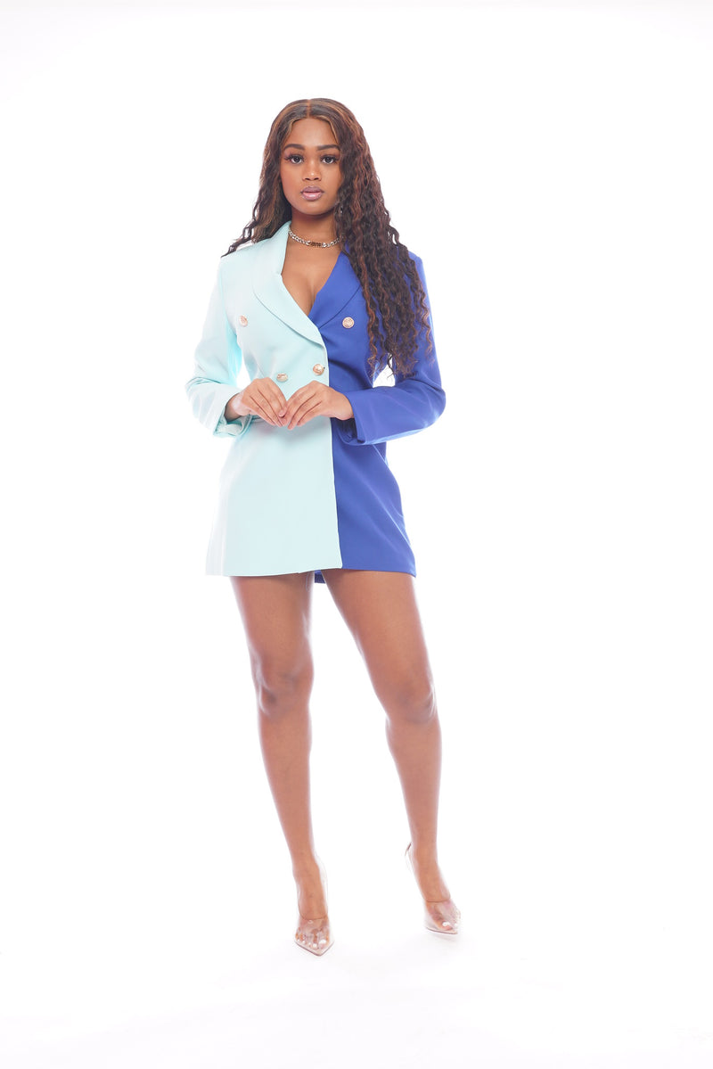 Double Blue Blazer Dress